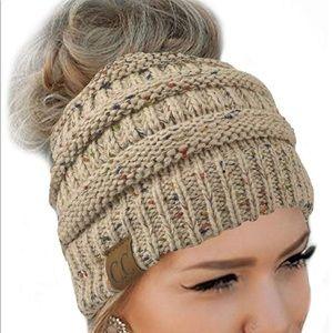 Accessories - Messy Bun Beanie Hat. NWOT